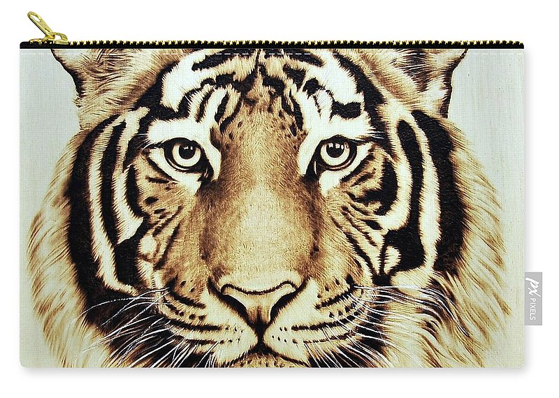 Tiger Carry-all Pouch featuring the pyrography Tiger by Ilaria Andreucci