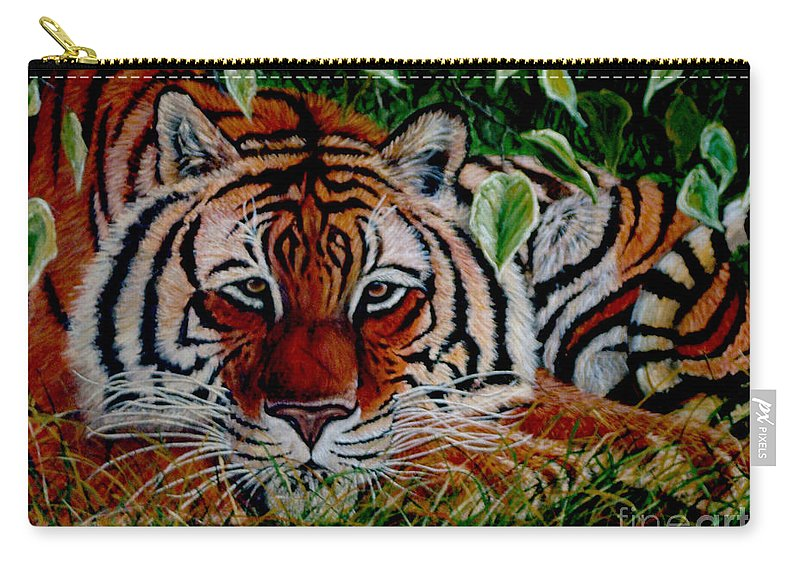 Tiger Carry-all Pouch featuring the painting Tiger In Jungle by Nick Gustafson