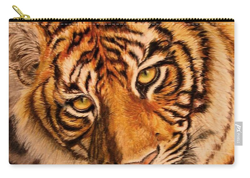 Tiger Carry-all Pouch featuring the drawing Tiger by Karen Ilari