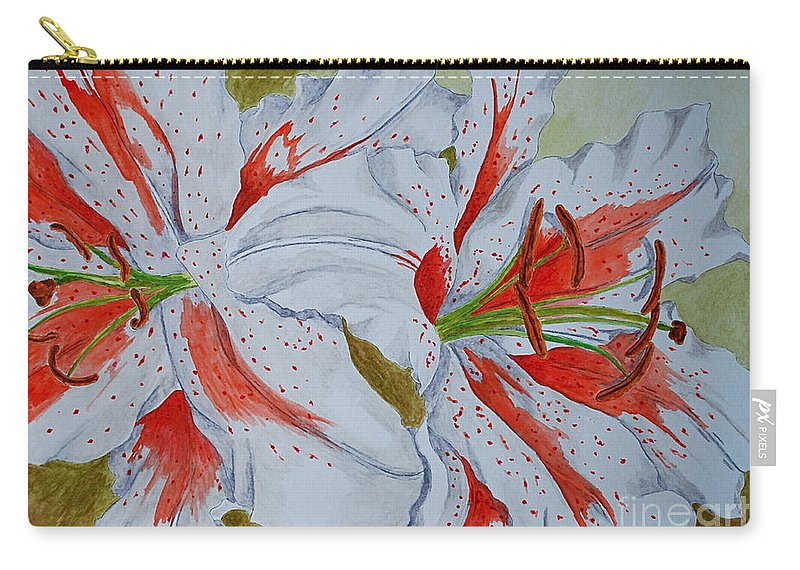Lilly Red Lilly Tiger Lilly Carry-all Pouch featuring the painting Tiger Lilly by Herschel Fall