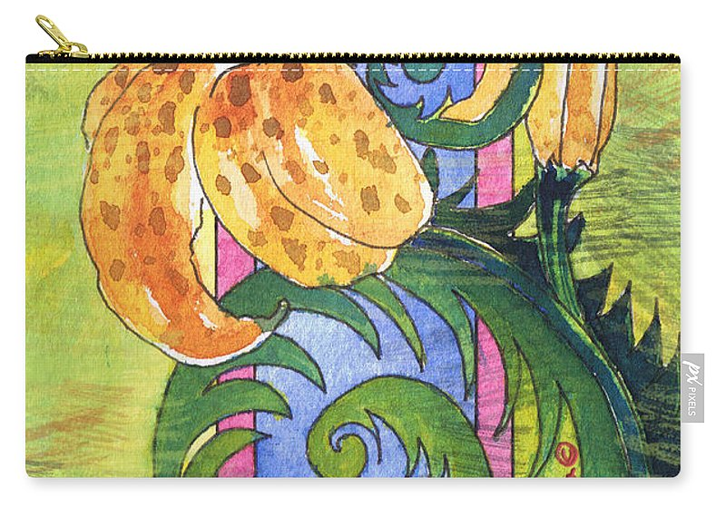 Tamara Kulish Carry-all Pouch featuring the painting Tiger Lilly by Tamara Kulish