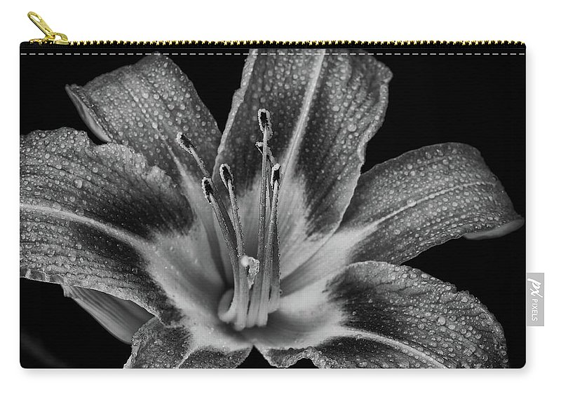 Lily Carry-all Pouch featuring the photograph Tiger Lily - Black And White by Greg Thiemeyer