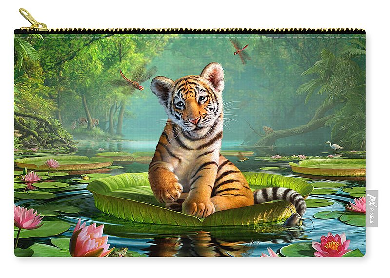 Tiger Carry-all Pouch featuring the digital art Tiger Lily by Jerry LoFaro