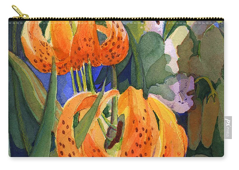 Flower Carry-all Pouch featuring the painting Tiger Lily Parachutes by Nancy Watson