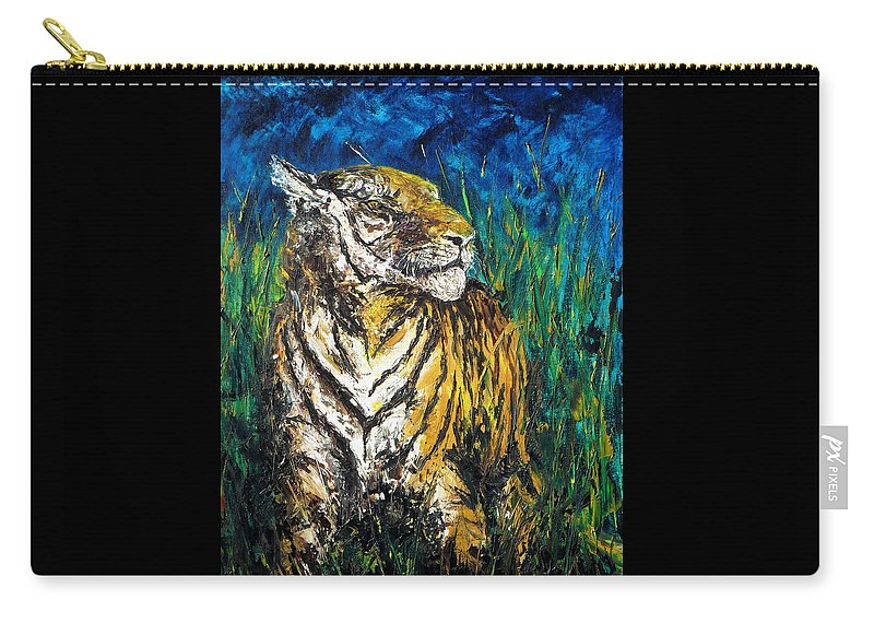 Tiger Carry-all Pouch featuring the painting Tiger Night Hunt by Shirley Heyn