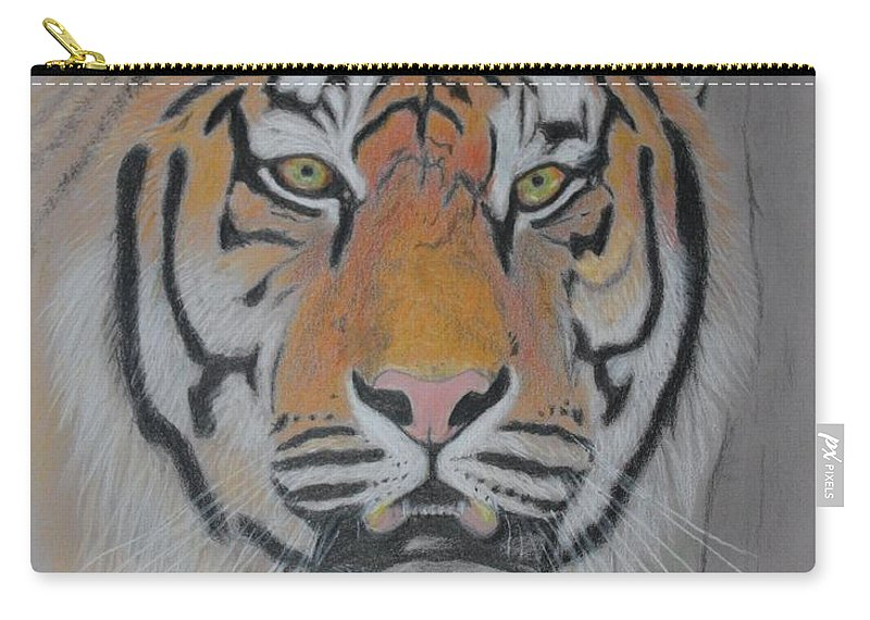Tiger Carry-all Pouch featuring the painting Tiger Portrait by Peter Graore