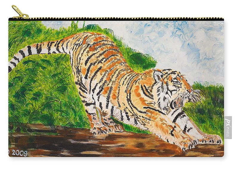 Cat Carry-all Pouch featuring the painting Tiger Stretching by Valerie Ornstein
