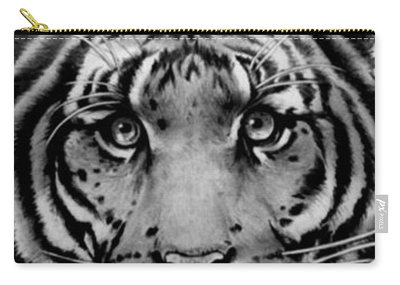 Tiger Carry-all Pouch featuring the drawing Tiger Tiger by Duke Windsor