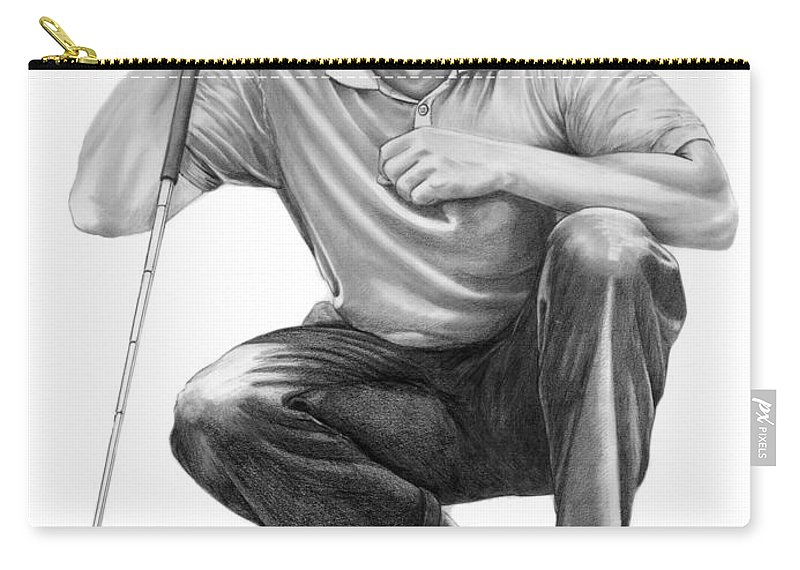 Pencil Carry-all Pouch featuring the drawing Tiger Woods Crouching Tiger by Murphy Elliott