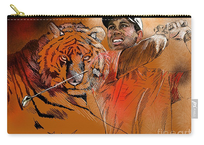 Golf Art Painting Portrait Tiger Woods Aninla Tiger Carry-all Pouch featuring the painting Tiger Woods Or Earn Your Stripes by Miki De Goodaboom