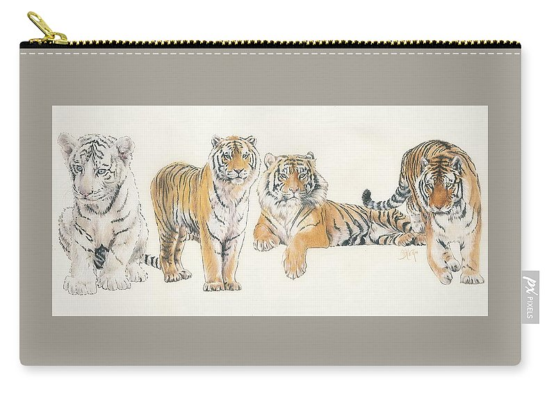 Tiger Carry-all Pouch featuring the mixed media Tiger Wrap by Barbara Keith