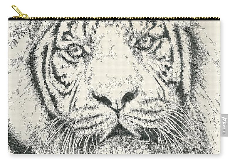 Tiger Carry-all Pouch featuring the drawing Tigerlily by Barbara Keith