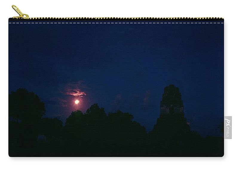 Tikal Carry-all Pouch featuring the photograph Tikal Guatemala Full Moon by Gary Wonning