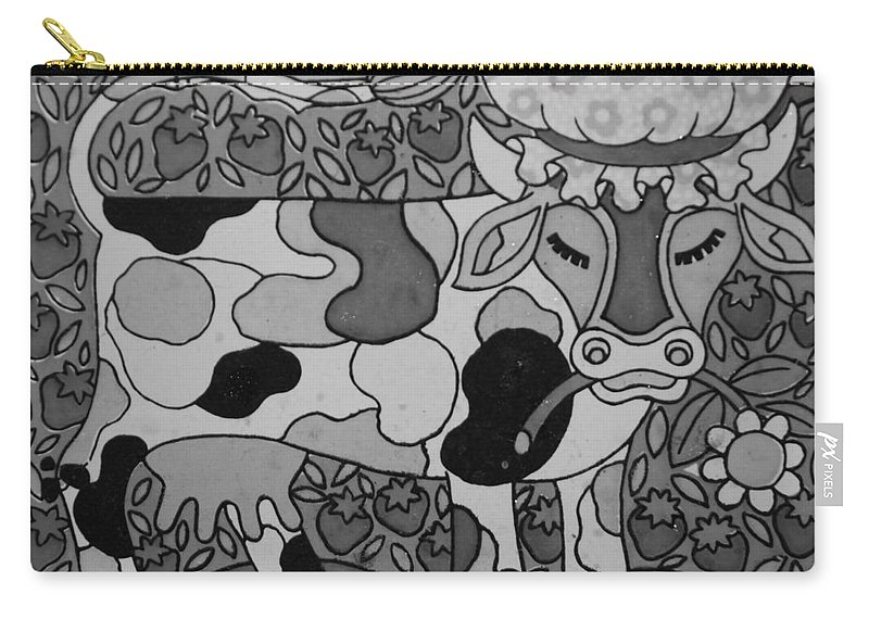 Pop Art Carry-all Pouch featuring the photograph Tile Cow by Rob Hans