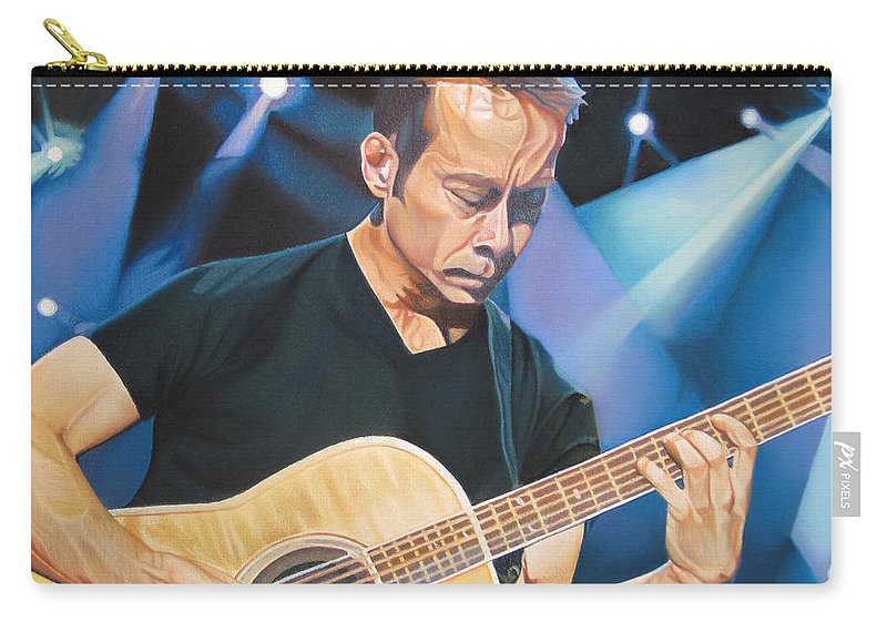 Tim Reynolds Carry-all Pouch featuring the drawing Tim Reynolds And Lights by Joshua Morton