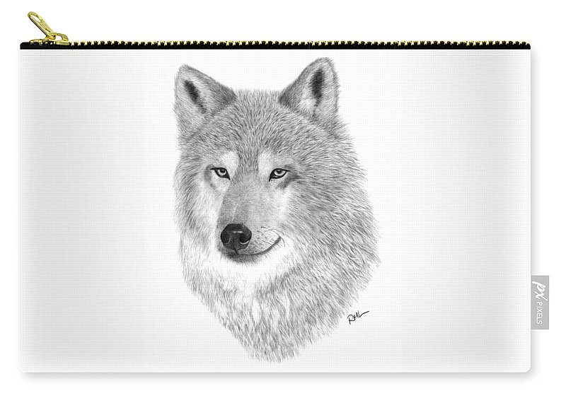 Wolf Drawing Carry-all Pouch featuring the drawing Timber Wolf by Rosanna Maria