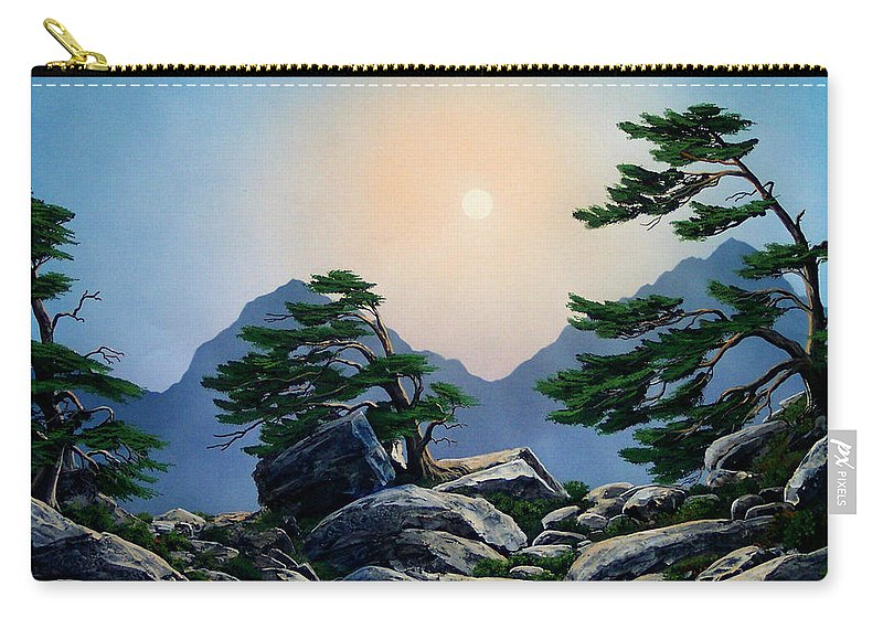 Timberline Guardians Carry-all Pouch featuring the painting Timberline Guardians by Frank Wilson