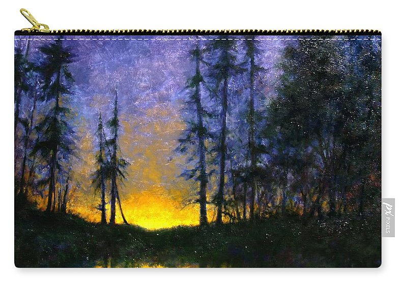 Landscape. Nocturn Carry-all Pouch featuring the painting Timberline by Jim Gola
