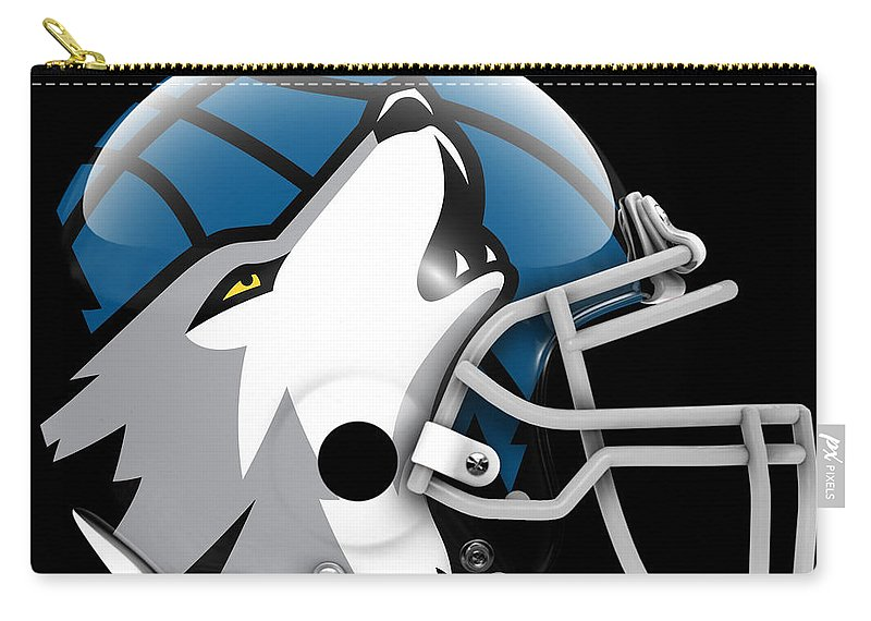 Timberwolves Carry-all Pouch featuring the painting Timberwolves What If Its Football by Joe Hamilton