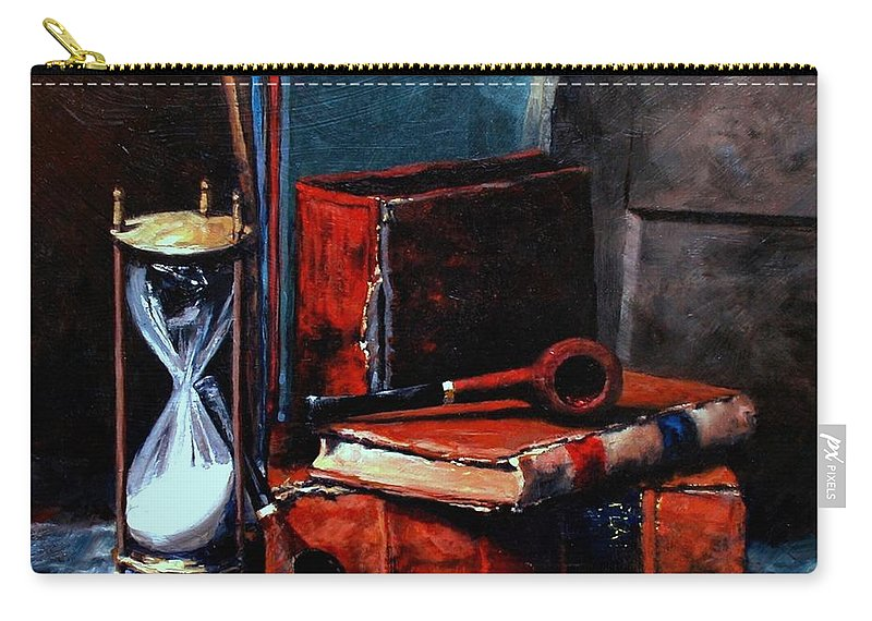 Still Life Painting Carry-all Pouch featuring the painting Time And Old Friends by Jim Gola
