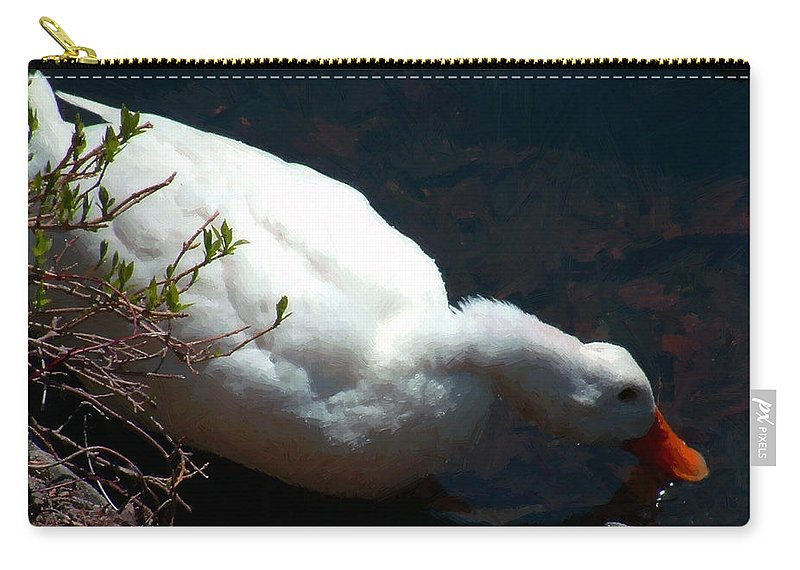 Duck Carry-all Pouch featuring the painting Time For A Drink by RC DeWinter