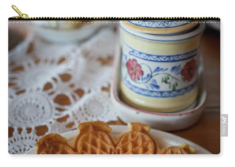 Waffle Carry-all Pouch featuring the photograph Time For Waffle by Arild Lilleboe