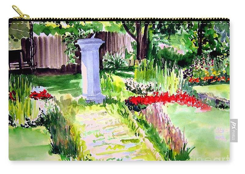 Park Carry-all Pouch featuring the painting Time In A Garden by Sandy Ryan