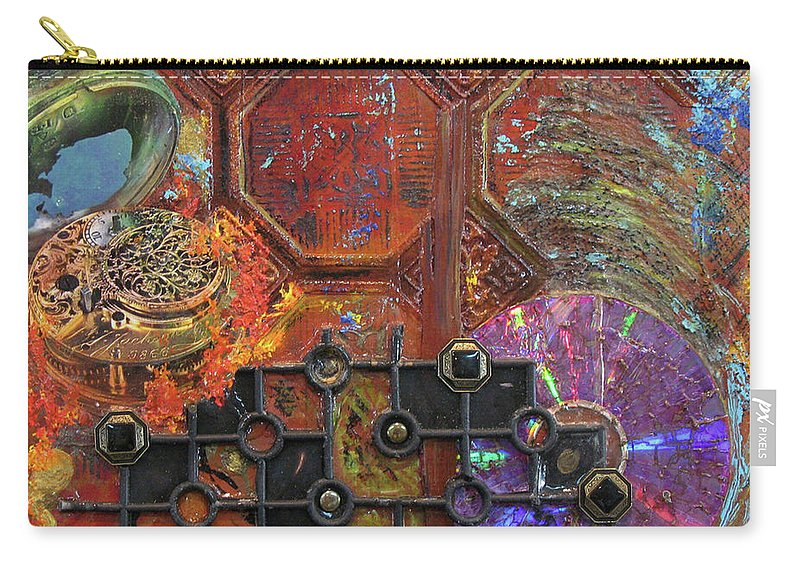 Assemblage Painting Carry-all Pouch featuring the painting Time Passage I by Elaine Booth-Kallweit