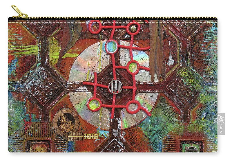 Assemblage Painting Carry-all Pouch featuring the painting Time Passage II by Elaine Booth-Kallweit