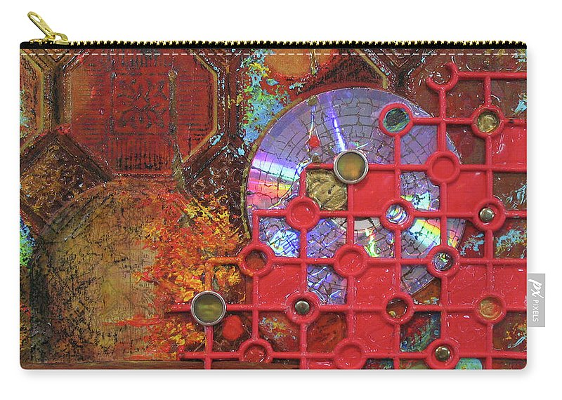 Assemblage Painting Carry-all Pouch featuring the painting Time Passage III by Elaine Booth-Kallweit