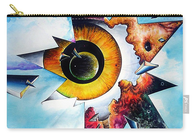 Time Carry-all Pouch featuring the painting Time. Shattered Pieces by Sofia Metal Queen
