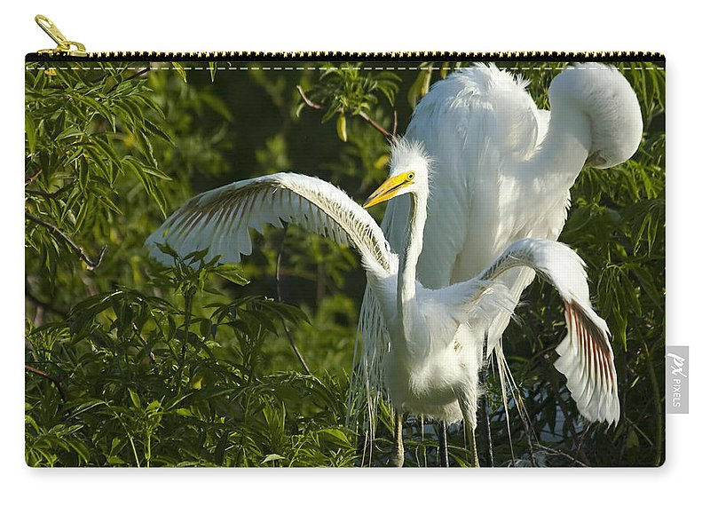 Egret Carry-all Pouch featuring the photograph Time To Fly by Carolyn Marshall