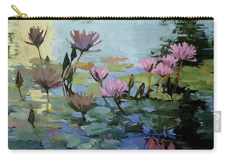 Floral Carry-all Pouch featuring the painting Times Between - Water Lilies by Betty Jean Billups