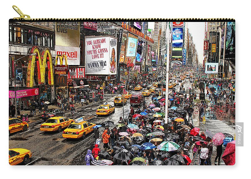 New York Carry-all Pouch featuring the photograph Times Square 1 by Andrew Fare