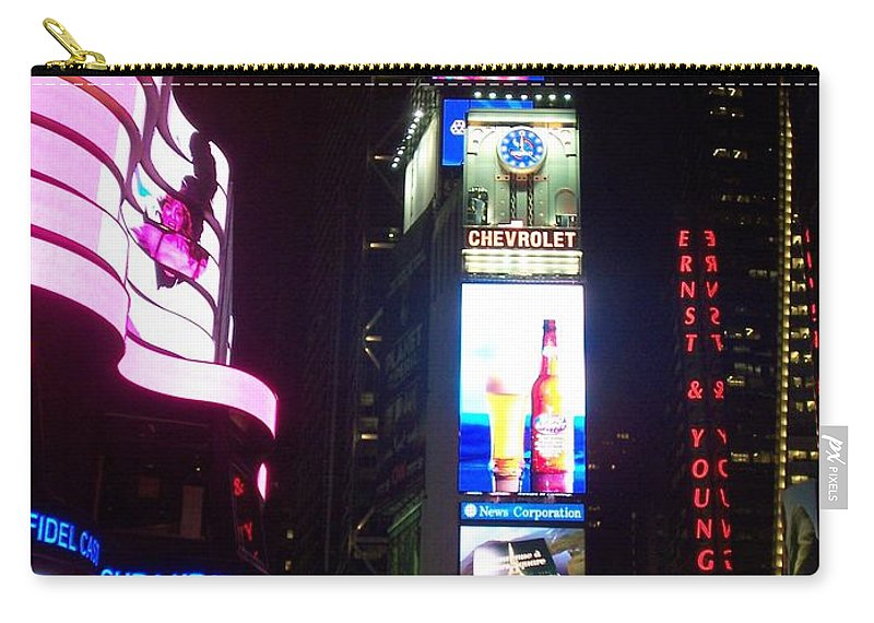 Times Square Carry-all Pouch featuring the photograph Times Square 1 by Anita Burgermeister