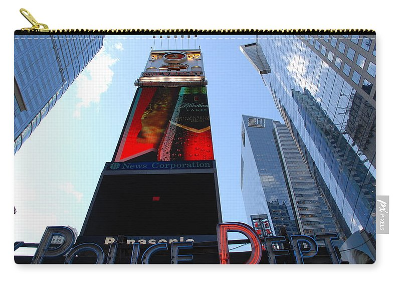 Times Square Carry-all Pouch featuring the photograph Times Square Cops by Rob Hans