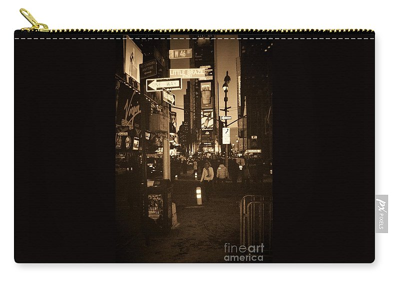 New York Carry-all Pouch featuring the photograph Times Square by Debbi Granruth