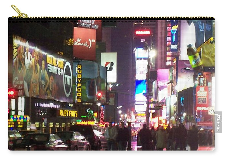 Times Square Carry-all Pouch featuring the photograph Times Square In The Rain 1 by Anita Burgermeister
