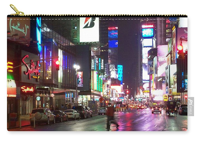 Times Square Carry-all Pouch featuring the photograph Times Square In The Rain 2 by Anita Burgermeister