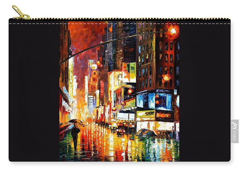 City Carry-all Pouch featuring the painting Times Square by Leonid Afremov