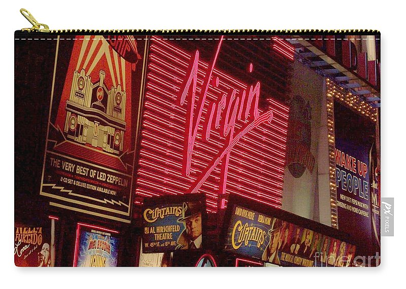 Times Square Carry-all Pouch featuring the photograph Times Square Night by Debbi Granruth