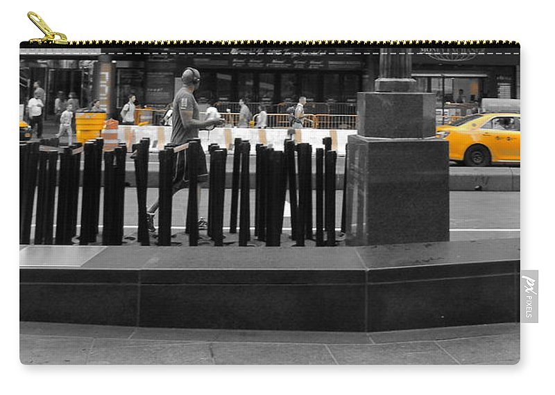 Cityscape Carry-all Pouch featuring the photograph Times Square Yellow Sunday Morning by Susan Lafleur