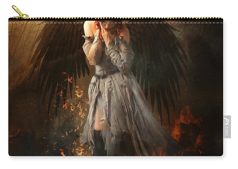 Woman Carry-all Pouch featuring the digital art Tinder by Karen Koski