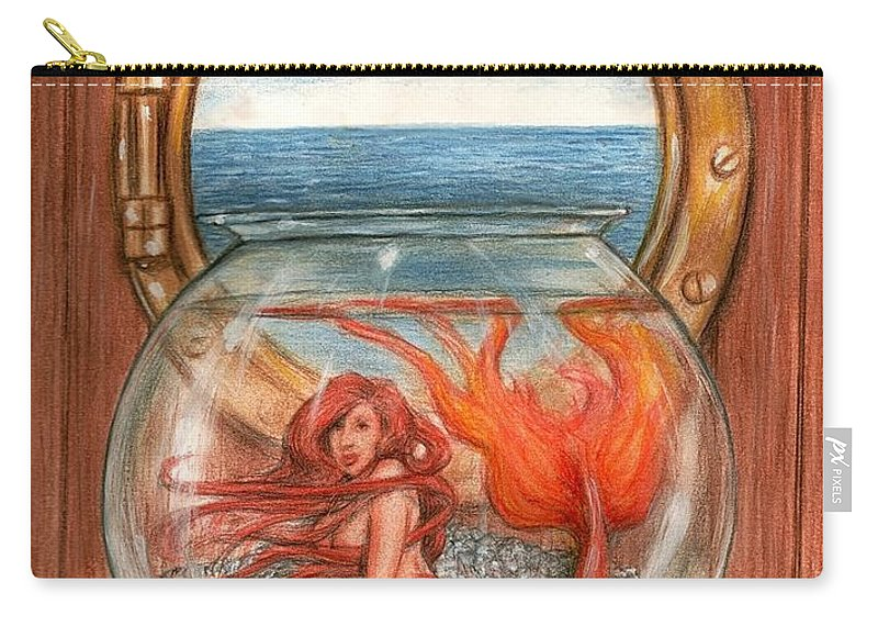 Mermaid Art Bruce Lennon Carry-all Pouch featuring the painting Tiny Mermaid by Bruce Lennon