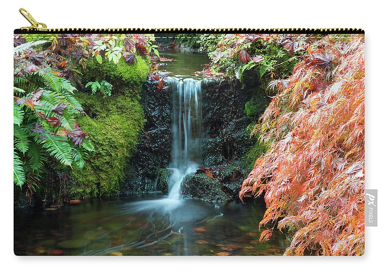 Outdoor Carry-all Pouch featuring the photograph Tiny Waterfall In Japanese Garden.the Butchart Gardens,victoria.canada. by Andrew Kim