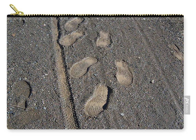 Prescott Carry-all Pouch featuring the photograph Tire Tracks And Foot Prints by Heather Kirk