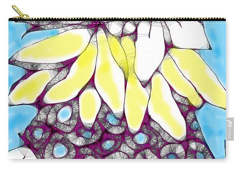 Tired Turtle With Bananas And Blooms Carry-all Pouch featuring the digital art Tired Turtle With Bananas And Blooms by Seth Weaver