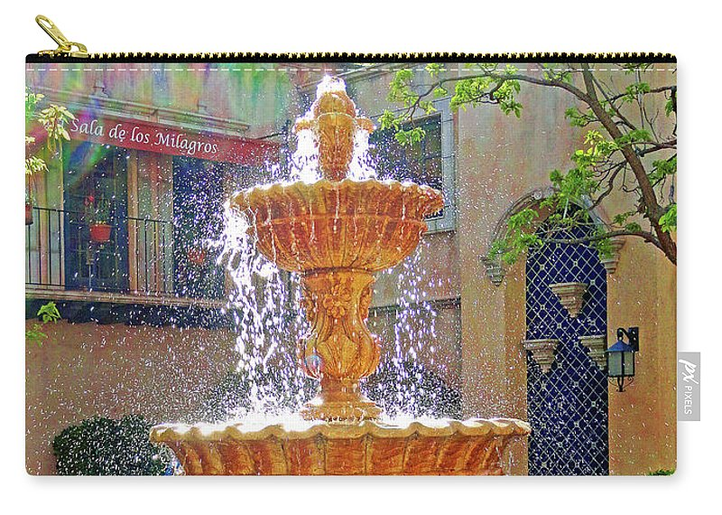 Tlaquepaque Carry-all Pouch featuring the photograph Tlaquepaque Fountain In Sunlight by Robert Meyers-Lussier