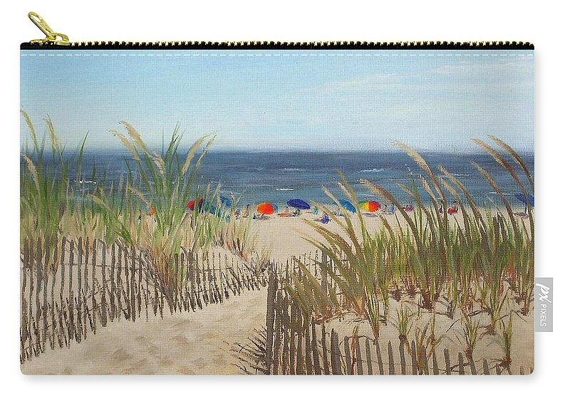 Beach Carry-all Pouch featuring the painting To The Beach by Lea Novak