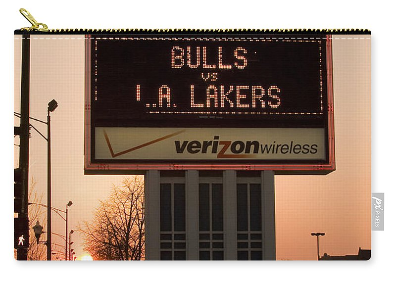 Chicago Windy City Evening Sunset Bulls Game La L.a. Lakers United Center Carry-all Pouch featuring the photograph To The Bulls Game by Andrei Shliakhau
